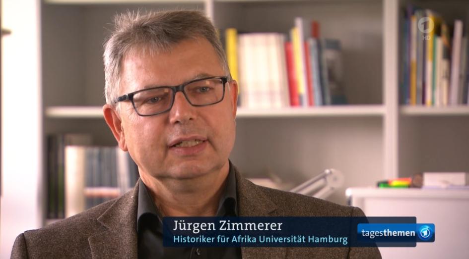 Prof. Dr. Jürgen Zimmerer in den Tagesthemen (Screenshot)