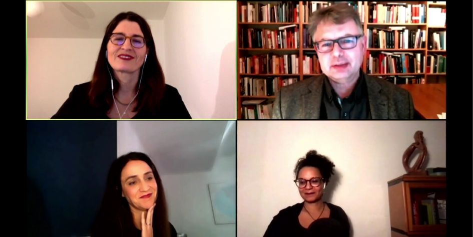 Screenshot der Video-Diksussion der BADW mit Dr. Kia Vahland, Prof. Dr. Jürgen Zimmerer, Dr. Mirjam Zadoff und Prof. Dr. Teresa Koloma Beck