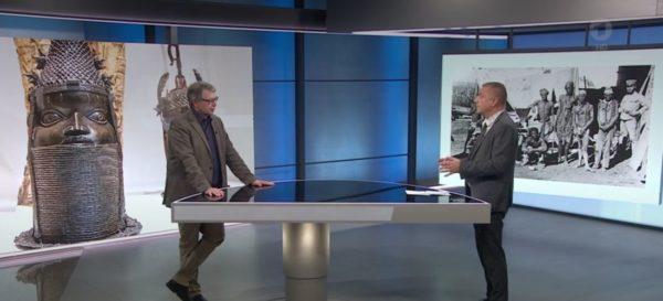 Prof. Dr. Jürgen Zimmerer im ARD-Interview durch Ulrich Timm (Screenshot)