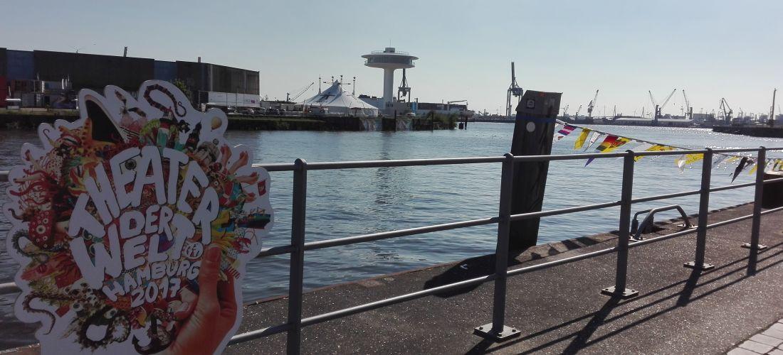 """Das Foto zeigt den Hamburger Hafen mit einem Werbeplakat für das """"Theater der Welt""""."""