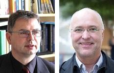 Das Foto zeigt die zwei Porträts der Historiker Jürgen Zimmerer und Rainer Nicolaysen.