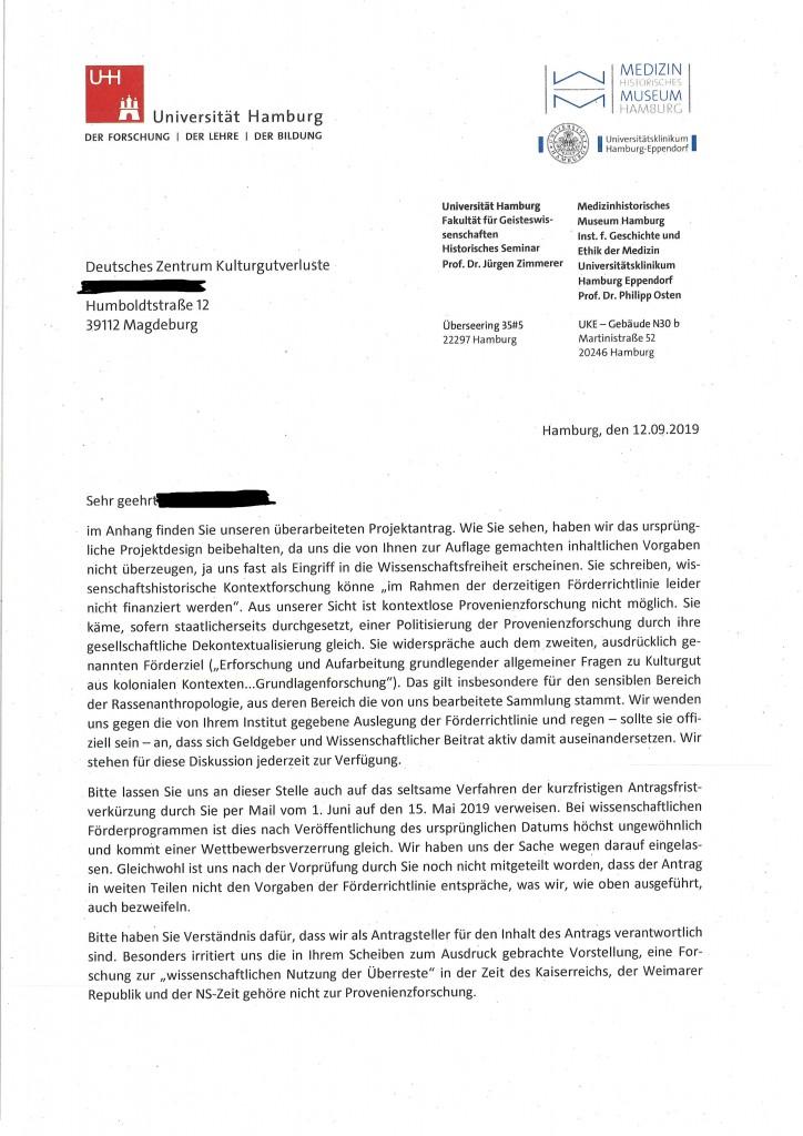 Scan des Schreibens an das Deutsche Zentrum Kulturgutverluste vom 12.9.2019, Erste Seite