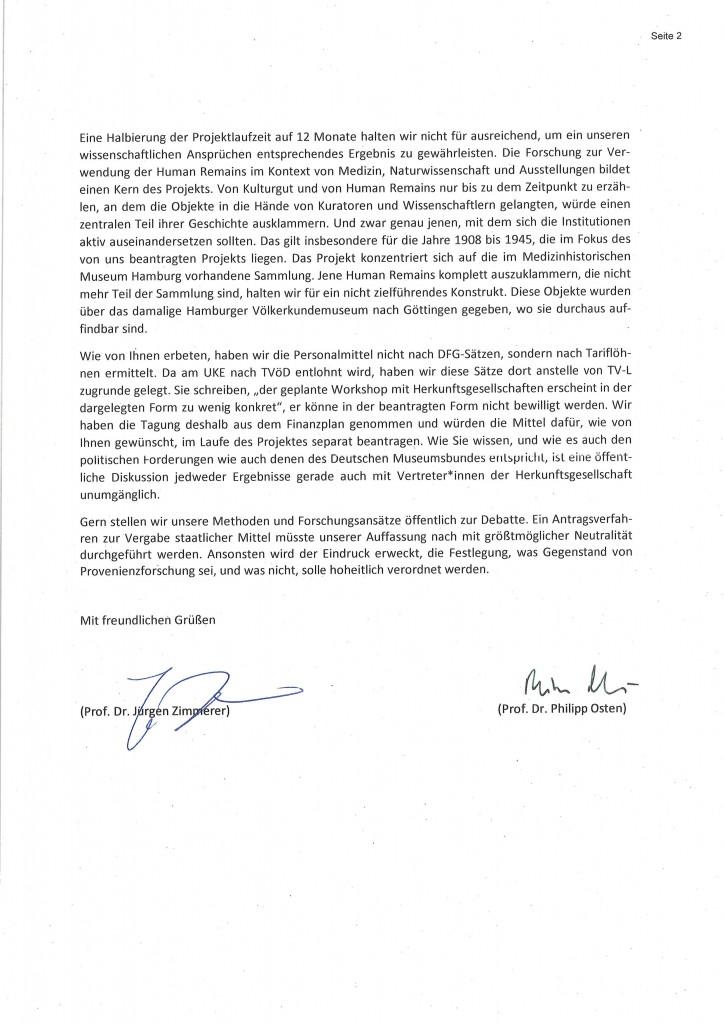 Scan des Schreibens an das Deutsche Zentrum Kulturgutverluste vom 12.9.2019, Zweite Seite