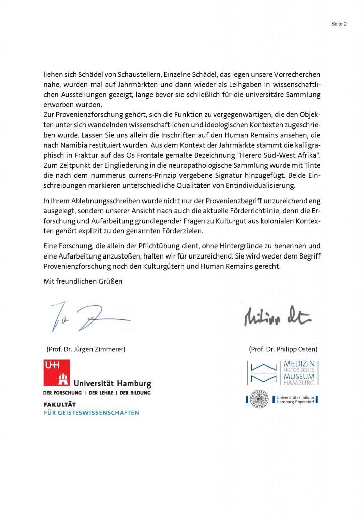 Scan des Schreibens an das Deutsche Zentrum Kulturgutverluste vom 23.10.2019, Zweite Seite