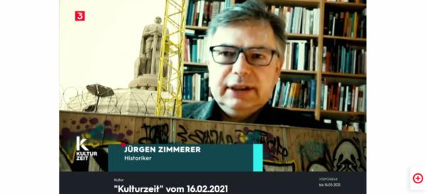 Screenshot: Prof. Dr. Jürgen Zimmerer im Interview für 3sat Kulturzeit