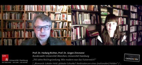 Screenshot aus dem Gespräch von Prof. Dr. H. Richter (r.) und Prof. Dr. J. Zimmerer (l.) in der Reihe Bismarck Global