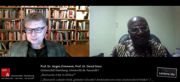 Screenshot: Prof. Dr. Jürgen Zimmerer im Gespräch mit Prof. Dr. David Simo in der Reihe 'Bismarck Global'