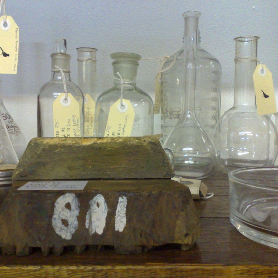 Das Foto zeigt mehrere leere Reagenzgläser mit beschrifteten Etiketten.