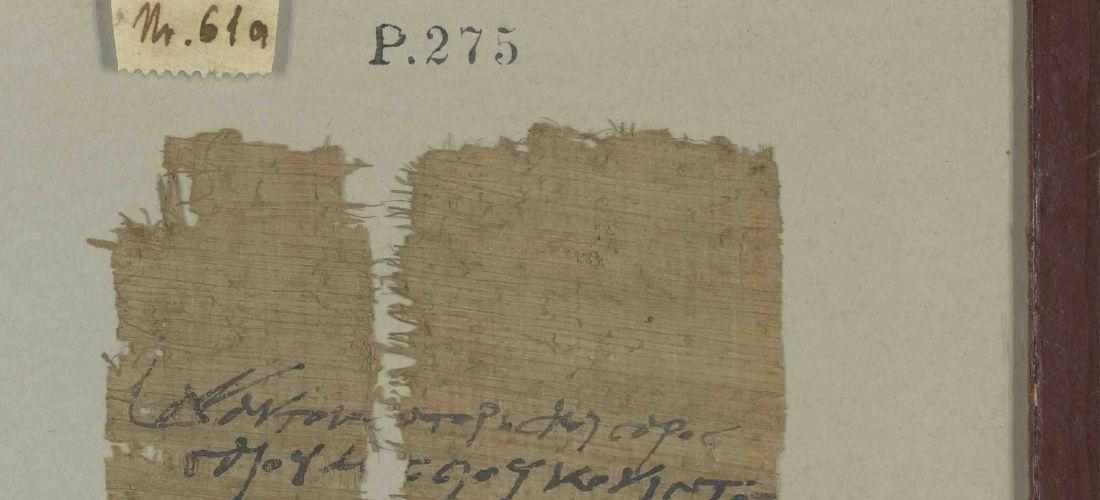 Das Foto zeigt den Abschnitt eines Fragments eines Schriftstücks. Es besteht aus Papyrus und trägt blaue Schriftzeichen.