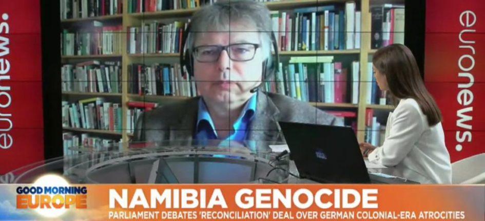 Prof. Dr. Jürgen Zimmerer im euronews-Interview (Screenshot, Ausschnitt)