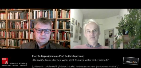 Ein Screenshot aus dem digitalen Gespräch von Prof. Dr. Christoph Nonn (r.) und Prof. Dr. Jürgen Zimmerer
