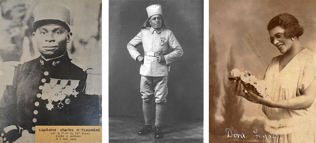 Es werden drei historische Fotografien gezeigt. Das erste Bild zeigt ein Schwarz-Weiß-Porträt des Offiziers Charles N'Tchoréré in Uniform. Bild zwei zeigt eine Schwar-Weiß-Fotografie von Bayume Mohamed Husen in Militäruniform. Bild 3 zeigt die Afrodeutsche Thea Leyseck.