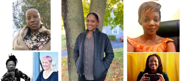 Das Bild zeigt eine Collage von Porträts von Dr. Amina Djouldé Christelle, Mercia Kandukira, Wilfried Nakeu, Gisela Ewe, Nnenna Onuoha und Dr. Nancy Rushohora