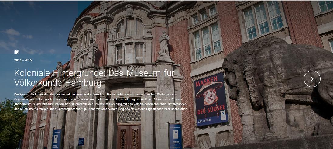 """Header virtuelle Ausstellung """"Koloniale Hintergründe: das Museum für Völkerkunde Hamburg"""""""